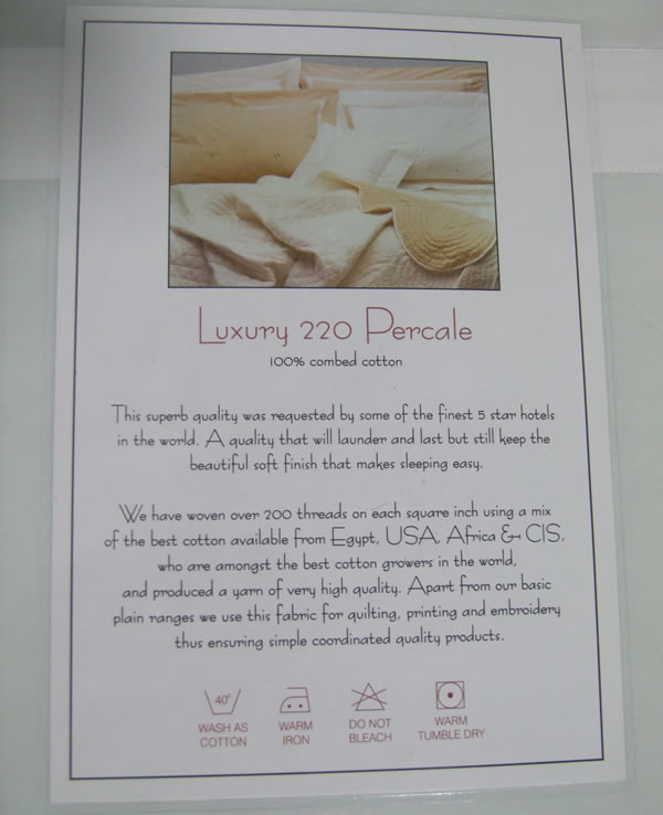 White Percale 220 Duvet Cover